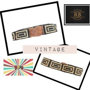 Accessories - VINTAGE Black & Cream Beaded Belt with Wood Buckle